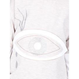 Bawełniana beżowa bluza dziecięca z pikowaniem i okiem