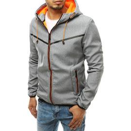 Gray men's softshell jacket with hood TX3325