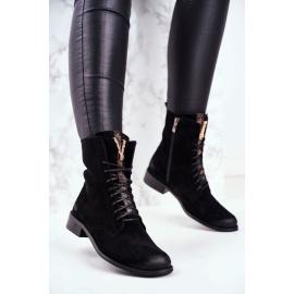 Women's Nubuck Leather Boots Black Nicole 2593