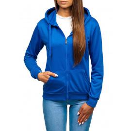 Ležerna ženska dukserica s patent zatvaračem i kapuljačom Denley WB 1005 - svijetlo plava,