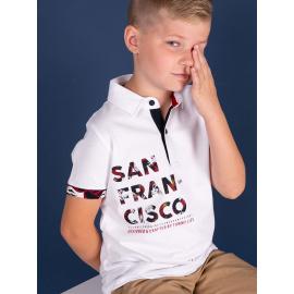 Biała chłopięca koszulka polo z nadrukiem TOMMY LIFE