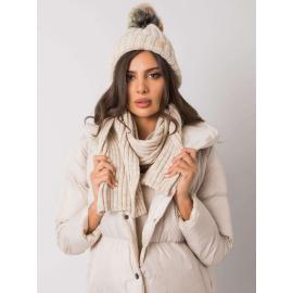 RUE PARIS Beżowy komplet zimowy czapka i szalik