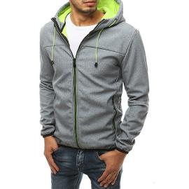 Gray men's softshell jacket with hood TX3354